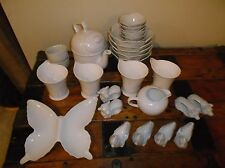 White Ceramic Porcelain Minimalist Table Set 26 pcs. Tableware Serving Mix Set