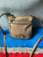 Fossil Marlow Taupe Leather Zip Shoulder Bag Handbag Purse Bag Crossbody