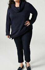 Ladies Pull on Trousers Indigo Blue Nina Leonard Denim Knit Pull on Trousers -L