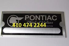 Stamped PONTIAC  DATA PLATE SERIAL NUMBER ID TAG VIN