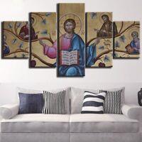 Great Christ Jesus Poster Wall Art Wisdom Happiness Home Decor 5pcs Canvas Print