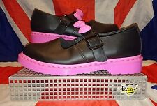 Rare*Hello Kitty Black Pink Bow Dr Doc Martens*Mary Janes*Quirky*Kitsch*Kawaii*9