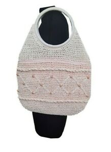 M&S Crochet Bag Pink w/Sequins Beach Bag Shopping Holiday Casual