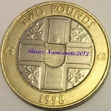Key Date GUERNSEY £2 Two Pound 1998 Arms on Cross and Three Lions Hologram Coin