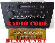 VAUXHALL OPEL CORSA BLAUPUNKT RADIO CAR 2003 PLAYER DECODE UNLOCK CODE SERVICE