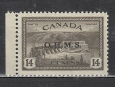 1949-1950 #O7 14¢ HYDROELECTRIC KING GEORGE VI  PEACE ISSUE OFFICIALS OHMS VFNH
