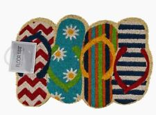 FUNKY COLOURFUL SUMMER FLIP FLOP SHAPED TRADITIONAL COIR DOOR FLOOR MAT