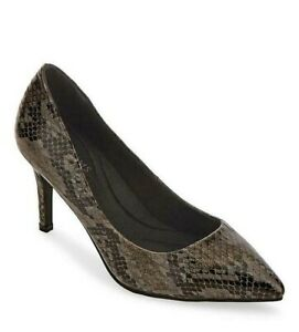 Womens High Heels Wide Fit Size 6 Black Stiletto Court Shoes Snake Animal Print