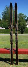 """Nice Vintage WOODEN Skis 72"""" Long w/ COLOR Snow Skiis!"""