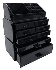 Acrylic Makeup Organizer Drawers Box Make Up Cosmetic Storage Display Case Black