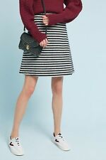NWT Anthropologie Maeve Black White Mod Striped Knit A Line Skirt 2 Small
