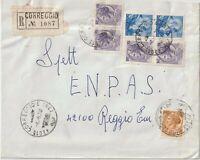 1970 affrancatura mista siracusana michelan.su  raccomand da Correggio x Reggio
