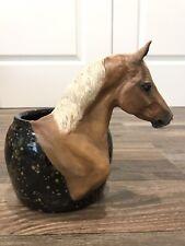 Rare Beverly Zimmer Custom Palomino Quarter Horse Head Hand Made Pottery Bowl