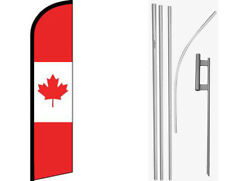 Canada Red / White Windless Banner Flag & 16ft Flagpole Kit /Ground