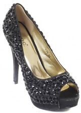 LYDC LONDON Jet Crystal Embellished Black Peep Toe Shoes UK 4 EU 37 LN12 44