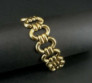 Oval with Bars Links Gold Vermeil over Sterling 925 Silver Chain Italy Bracelet