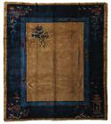 Open Field Semi-Antique Chinese Wool Handmade 9' x 12' Art Deco Brown Rug