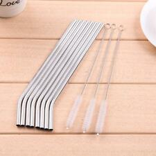 8Pcs Stainless Steel Metal Drinking Straw Reusable Straws w/ 3 Cleaner Brush Kit