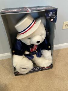 "Dan Dee 2000 Plush Musical Bear Americana Edition  17"" White- New"