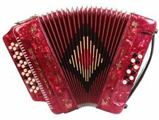 Rossetti 3412 34 Button 3 Switch 12 Bass GCF Sol Accordion - Red with Case