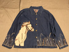 Womens Don't Mess w/Texas Horse Equestrian Western Denim Beaded Sequin Jacket XL