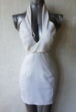 Angel Biba White Bodycon Mini Dress with Crossover Halter Neck Top, Size 8 - NWT