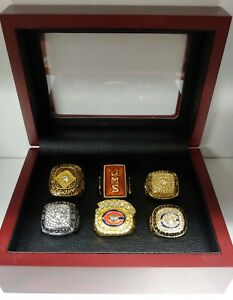 Chicago Bears - Championship Super Bowl 6 Ring Set With Wooden Box. Payton Perry