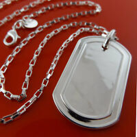 Necklace Chain Real 925 Sterling Silver S/F Solid Unisex Dogtag Pendant Design