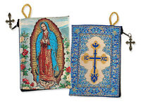 2 Sided Our Lady of Guadalupe Cross on The Back Side Tapestry Rosary Icon Pouch