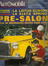 L'AUTOMOBILE 257 1967 LOTUS EUROPE SIATA SPRING GP ALLEMAGNE 24H SPA 500 BRANDS