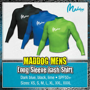 MADDOG Mens Long Sleeve Rash Top Shirt Rashie Surfing Scuba Diving Swim Adult