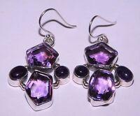 11.80 Gm Natural Amethyst Earrings Gemstone Fine 925 Solid Sterling Silver K-574