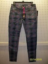 "I HEART RONSON Raspberry Rdnc Plaid Size 4 Inseam 30"" Jeans FREE Shpg NWTA"