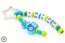 Taschenbaumler/Schlüsselanhänger mit Namen ★ Traktor in blau/hellgrün ★ Neu ★