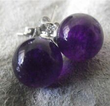 Charming 10MM Natural Round Amethyst 925 Silver Stud Earrings