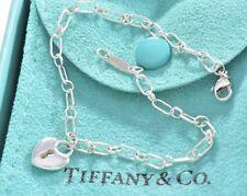 """Tiffany & Co Silver Mini Heart Keyhole Lock Padlock 7.5"""" Charm Bracelet W/ Pouch"""