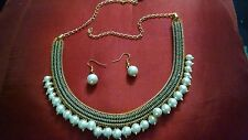Indian CZ AD Green Stone filled Pearl Beads Goldplated Necklace Jewelry Set