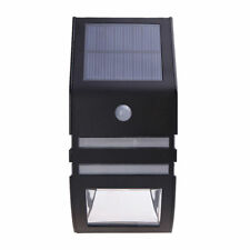 BLACK Solar-Powered SMD LED Light Outdoor Wall Lamp with PIR Sensor