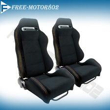 Recardo Style Cloth Black Racing Seats Pair Yellow Stitch Reclinable