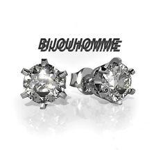 PAIRE BOUCLE D'OREILLE HOMME FEMME ADO RONDE ZIRCON DIAMS BLANCHE 5mm