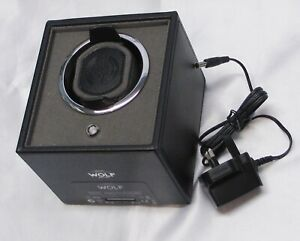 """WATCH WINDER, ELECTRIC, """"WOLF"""", NEW & MINT, BLACK IN WHITE BOX, BLANK GUARANTEE"""