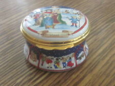 Halcyon Days Enamel Christmas Trinket Box 1993 Mint!