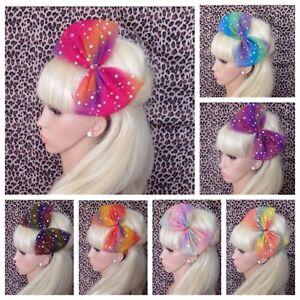 RAINBOW SPARKLE TULLE TUTU BOW ALICE HAIR BAND HEADBAND 80s PARTY FANCY DRESS