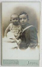 CDV PHOTO SYLVESTRE à LYON enfants fratrie garçon et bébé F411