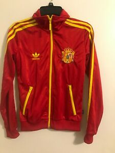 Adidas 1978 Women's Spain Soccer Track Jacket Zip Up Espana Trifold Red Sz S #C4