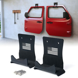 Xprite Wall Mount 2 Door Storage Hanger FLAG for Jeep Wrangler CJ TJ LJ JK JL JT