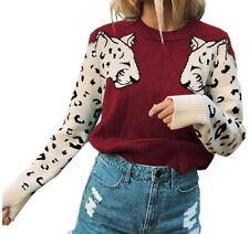 Women's Casual Red Sweater Leopard Patchwork Sleeves Pullover NWOT