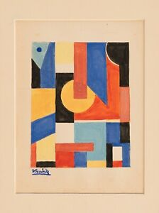 LAJOS KASSAK Signed Composition Constructivism Avantgarde Modernism Abstract Art