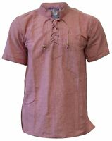 Mens  Holiday Shirts Short Sleeve Light Summer Collarless Cotton Grandad Shirt