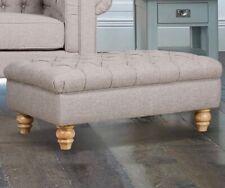 Bordeaux Buttoned Footstool For Stylish Elegant Living Room In Mushroom